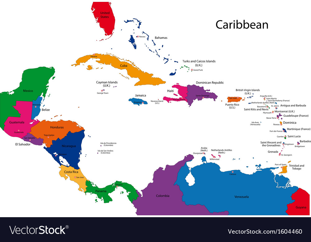 Caribbean Map Royalty Free Vector Image VectorStock - Map of caribbean