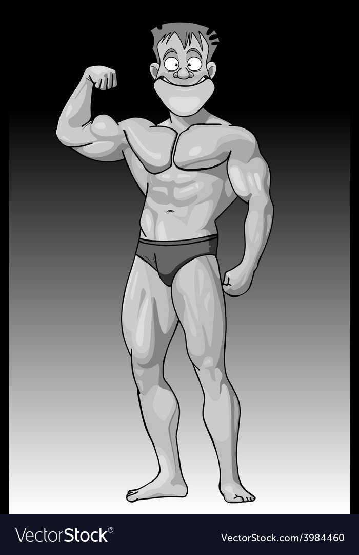 Cartoon funny guy beefy bodybuilder vector image