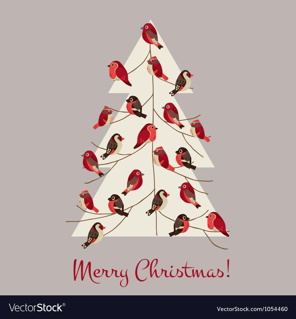 Retro Christmas Card - Winter Birds on Christmas T vector image