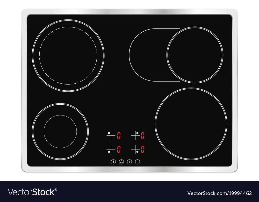 Electric Ceramic Oven Cooktop Vector Image