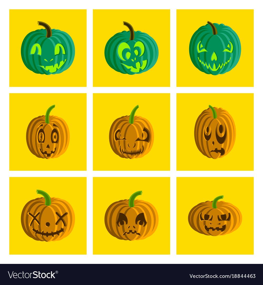 Assembly flat halloween pumpkin emotions
