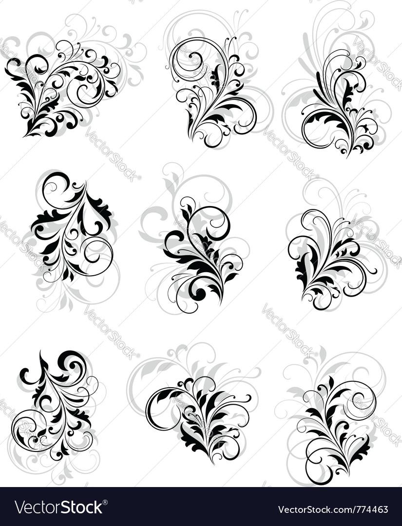 Flourish elements vector image