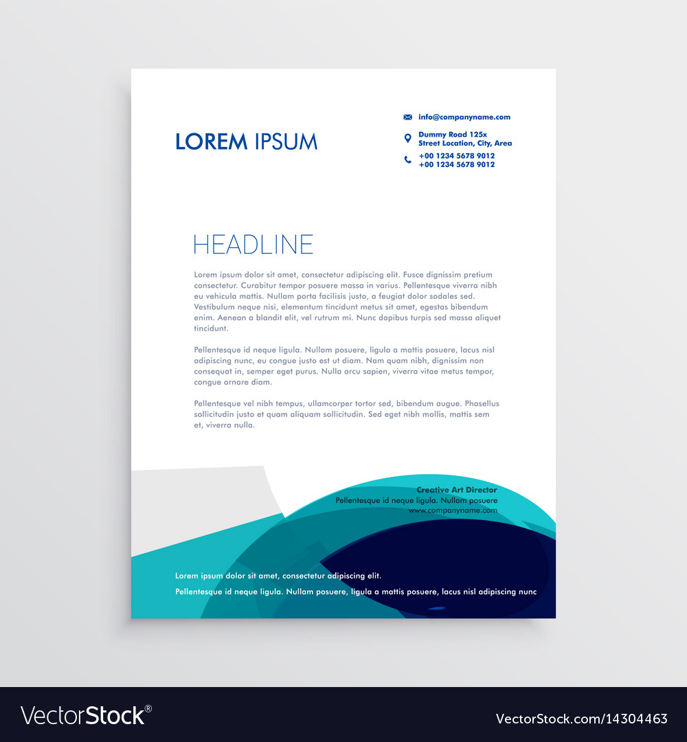 Letterhead design with abstract blue shapes vector image
