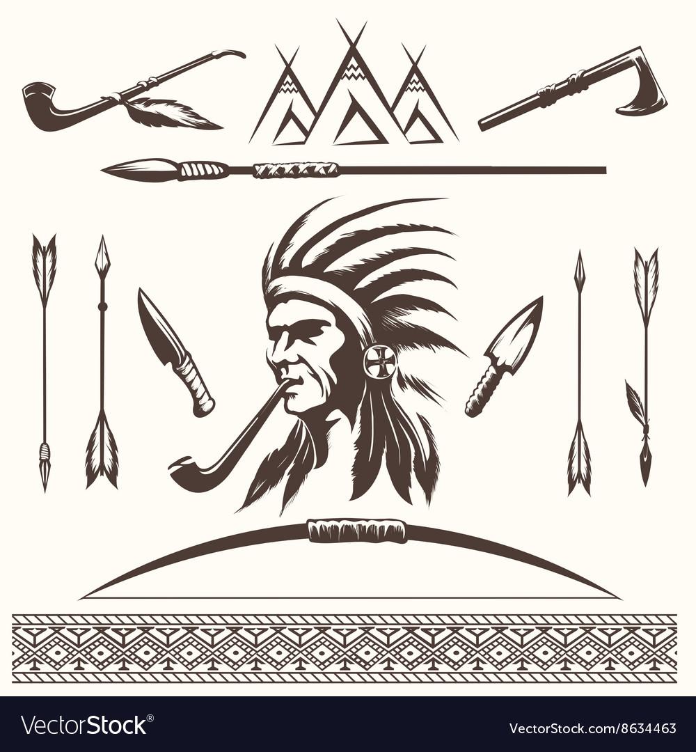 Native american indian ethnic elements vector image