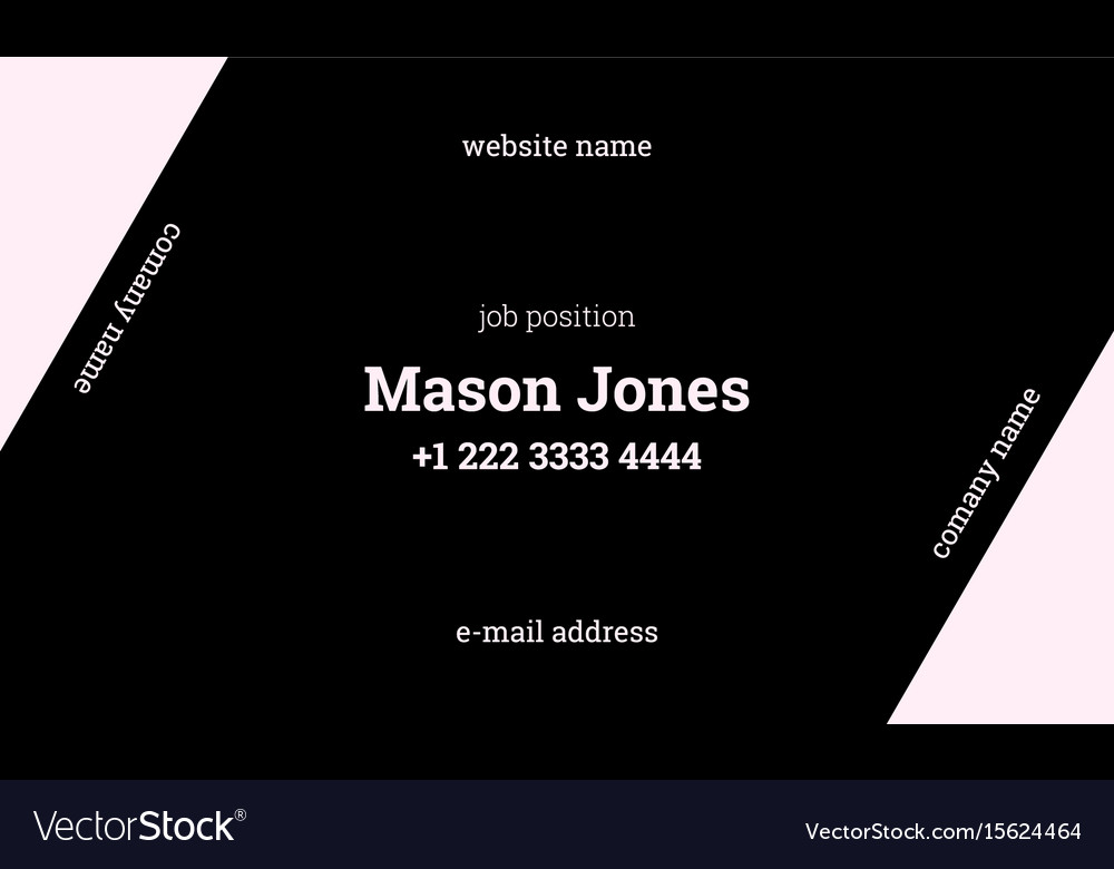 Black and pink business card template strict style