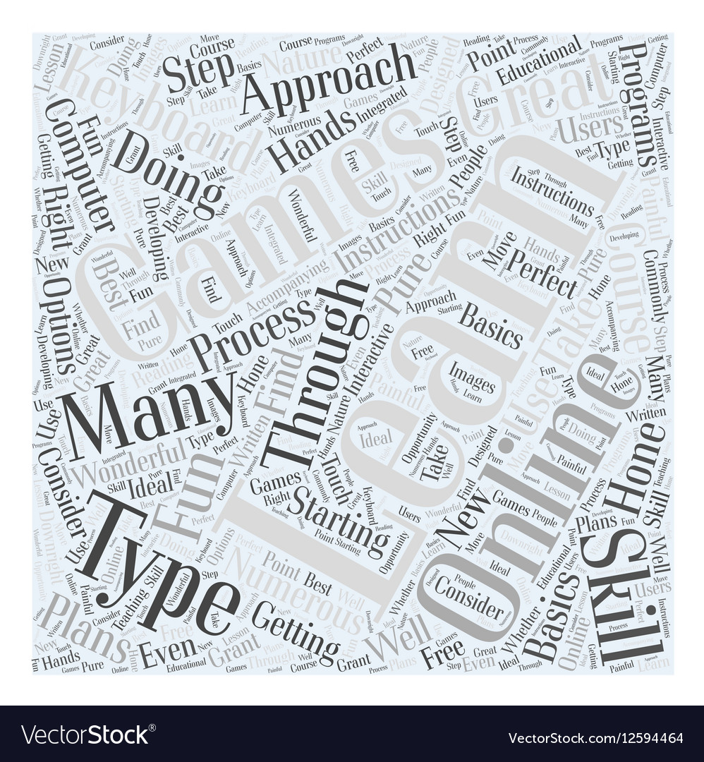 Learning the computer keyboard Word Cloud Concept vector image