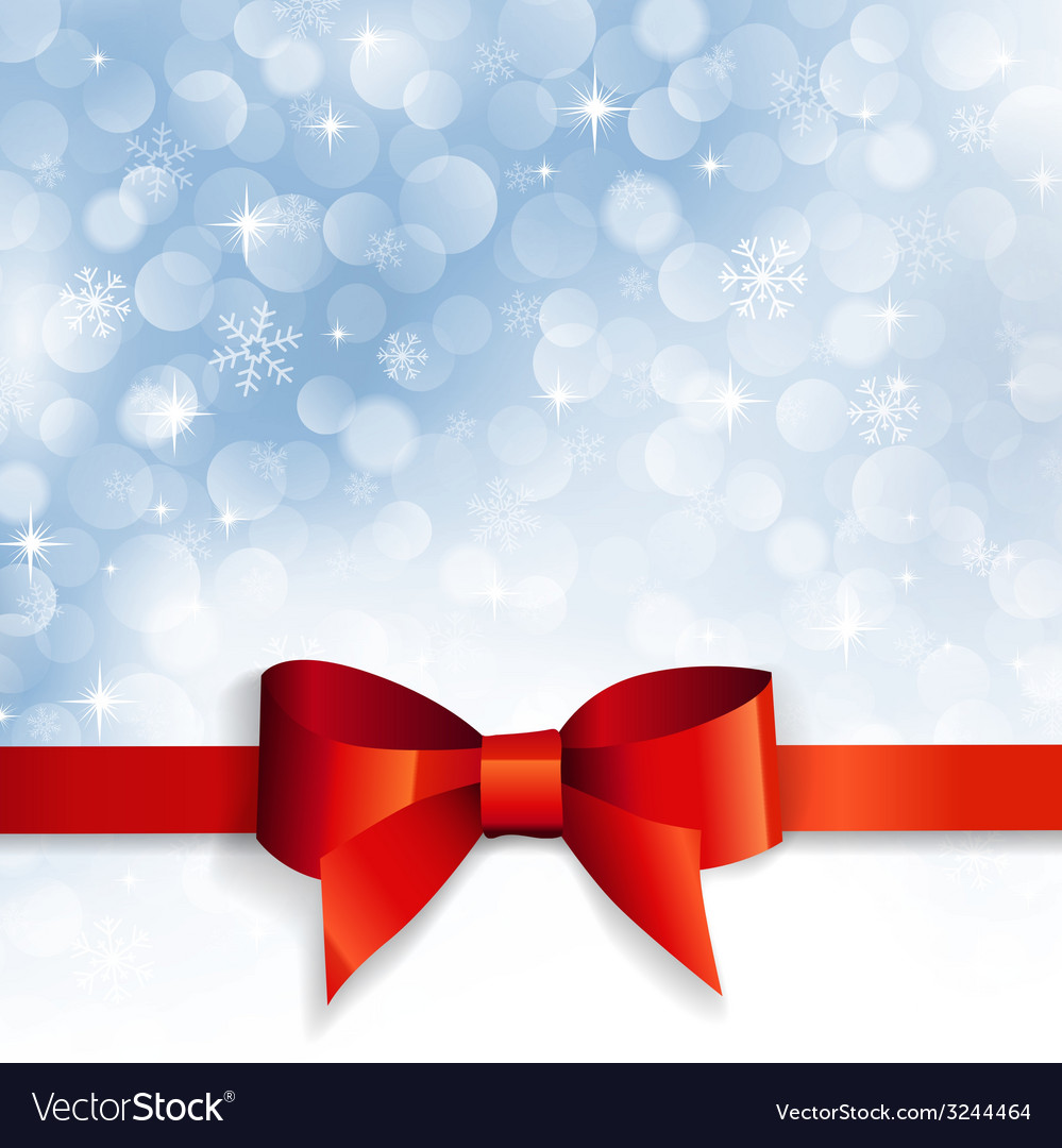 Red bow on a background snowflakes vector image
