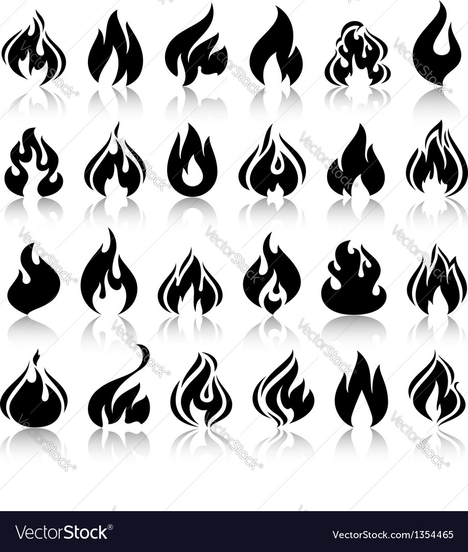 Fire flames set icons with reflection vector image