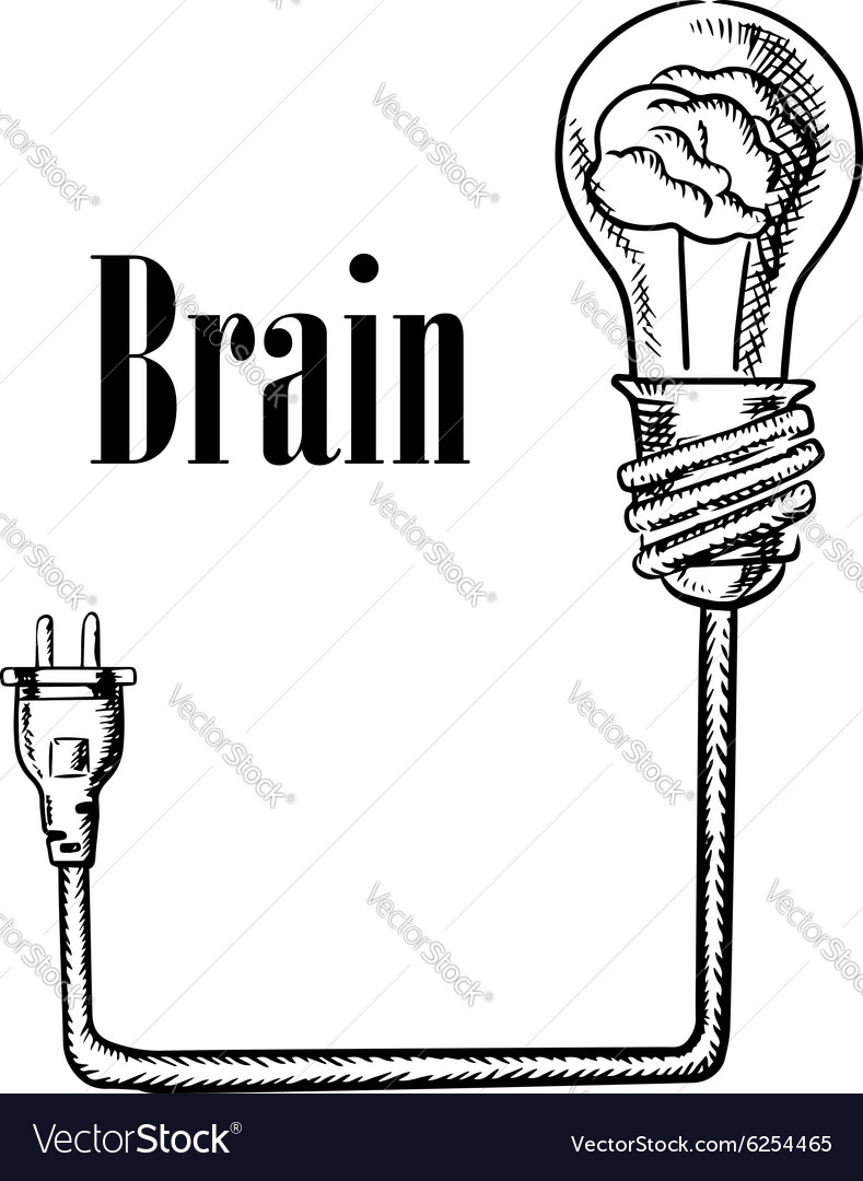 Light bulb with brain connected to plug vector image