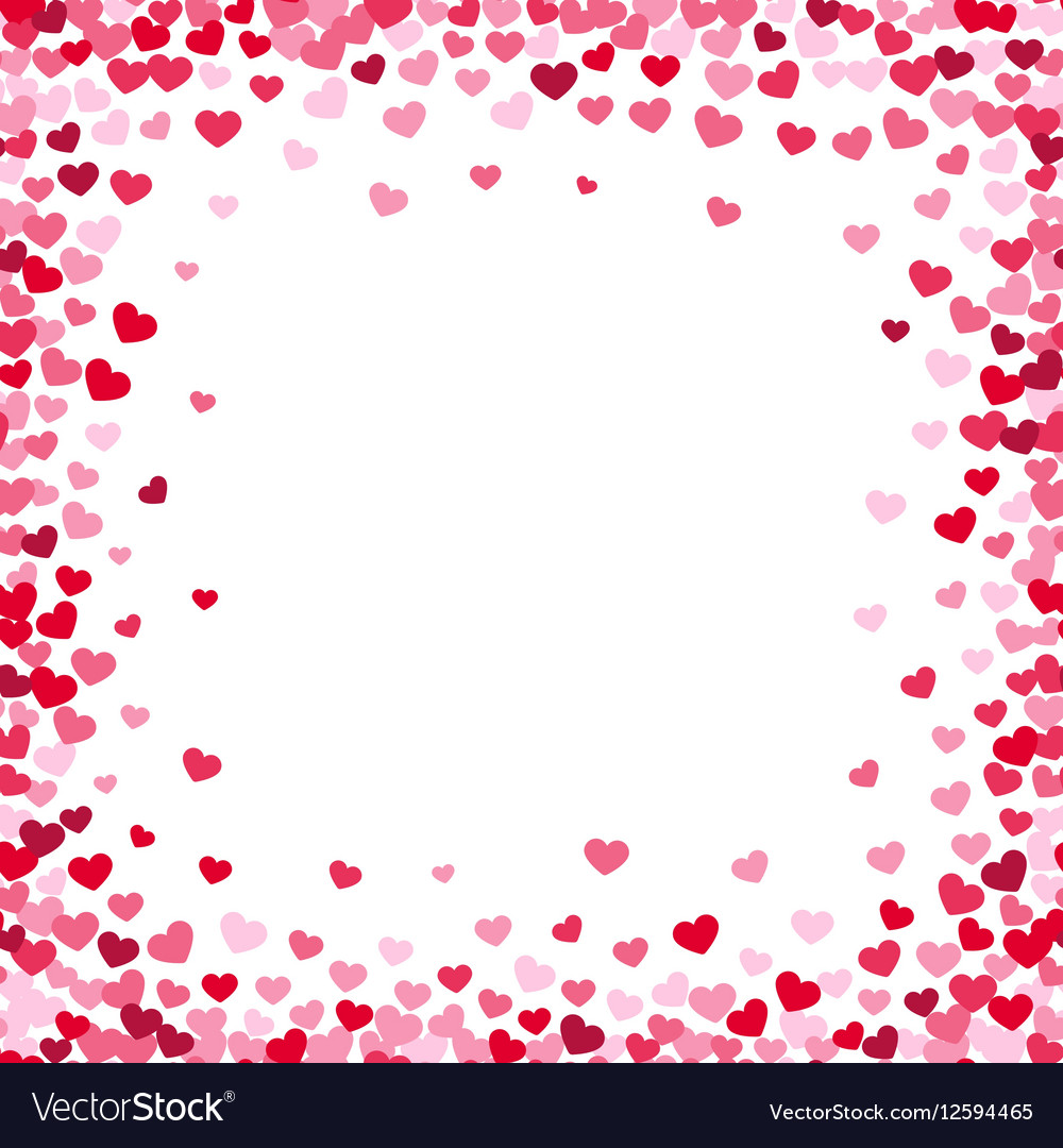 Lovely heart frame with confetti hearts vector image