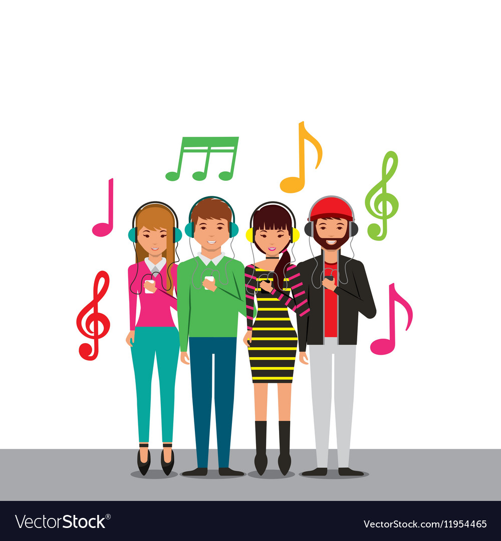 People and music design vector image