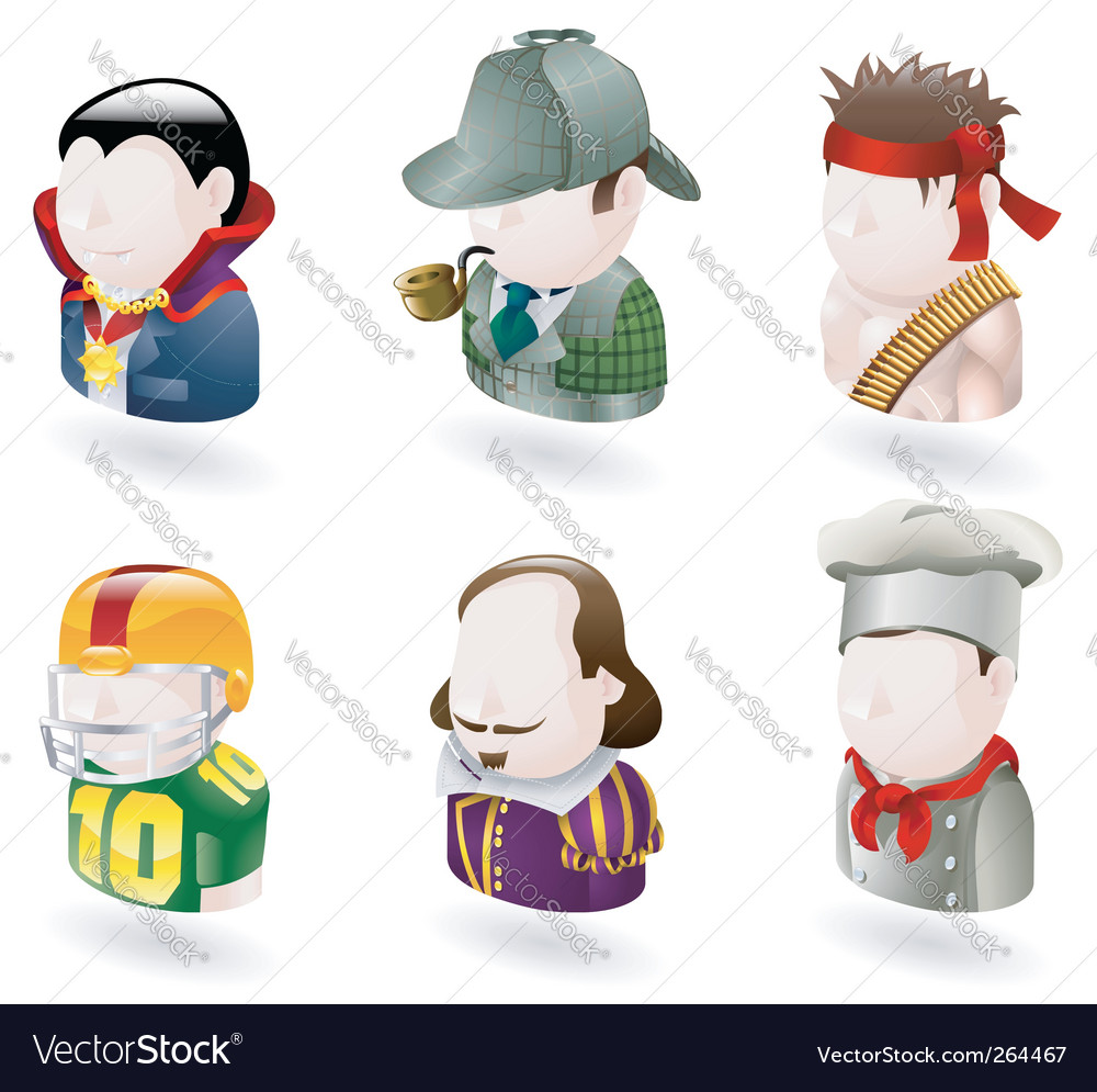 Avatar people web icon set vector image