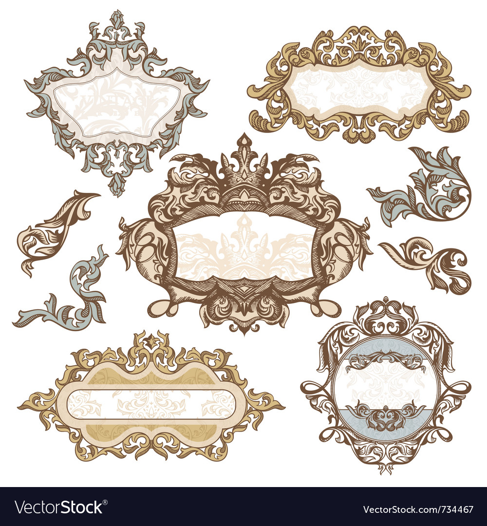 Set of royal vintage frames vector image