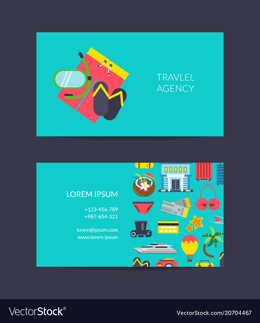 Travel business card template for travel vector image cheaphphosting Gallery