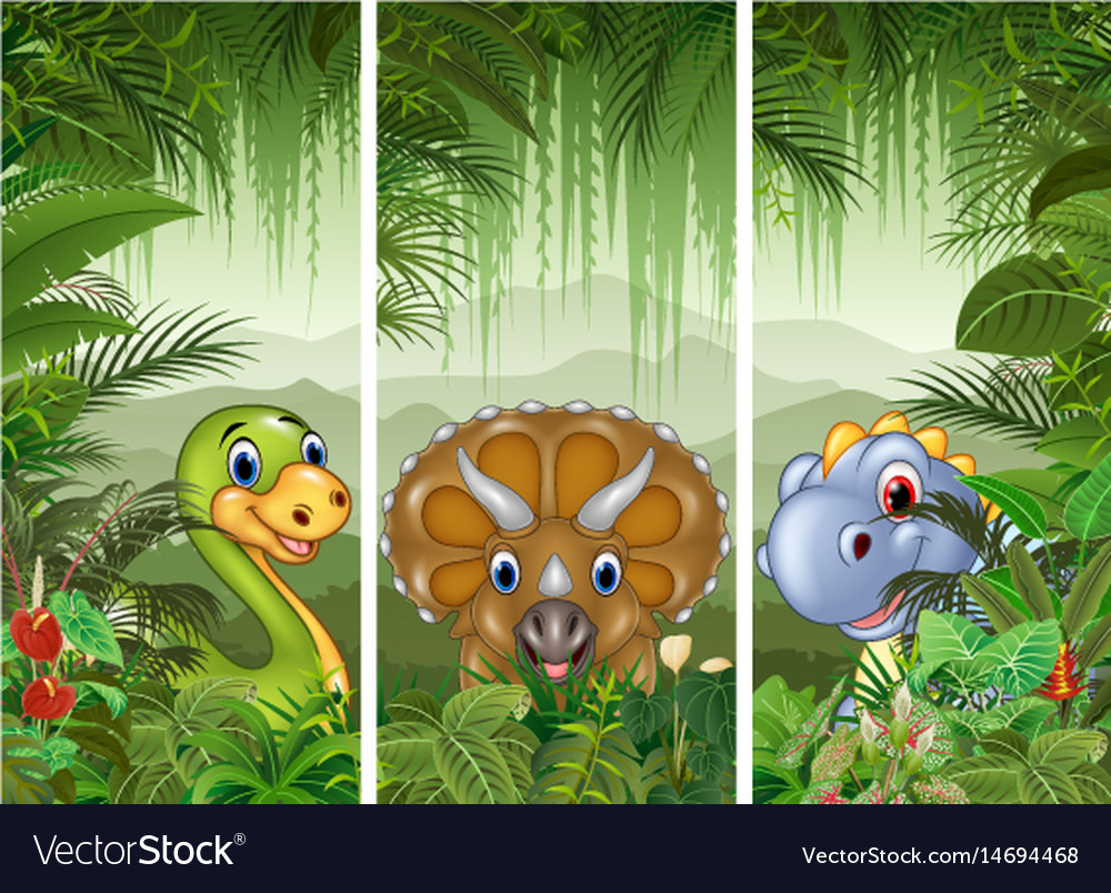 Set of three dinosaur background vector image