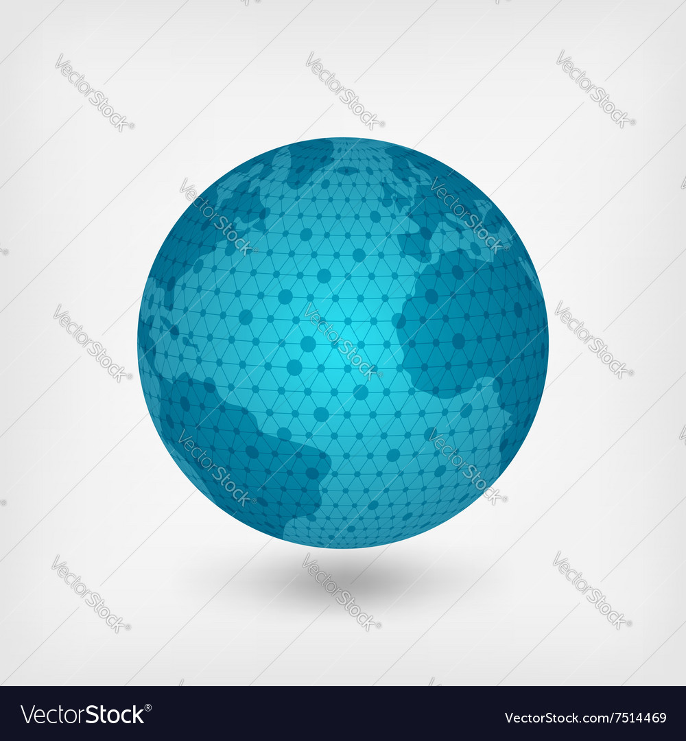 Blue planet network vector image