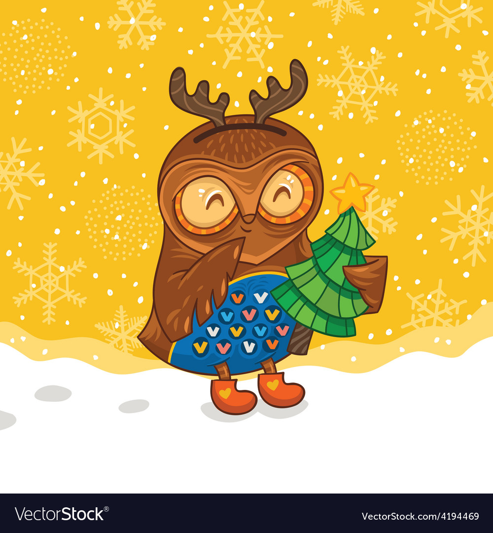 Happy owlet with tree vector image