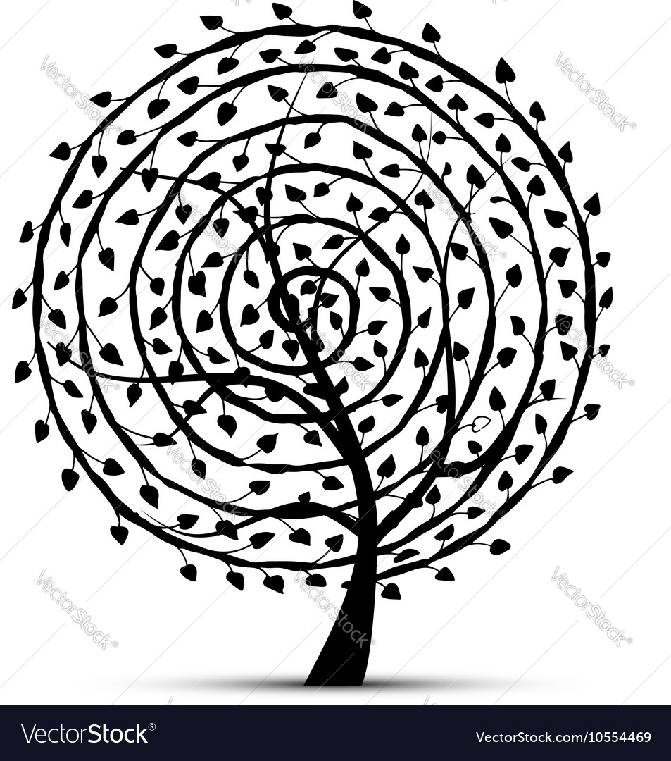 Spiral floral tree for your design vector image