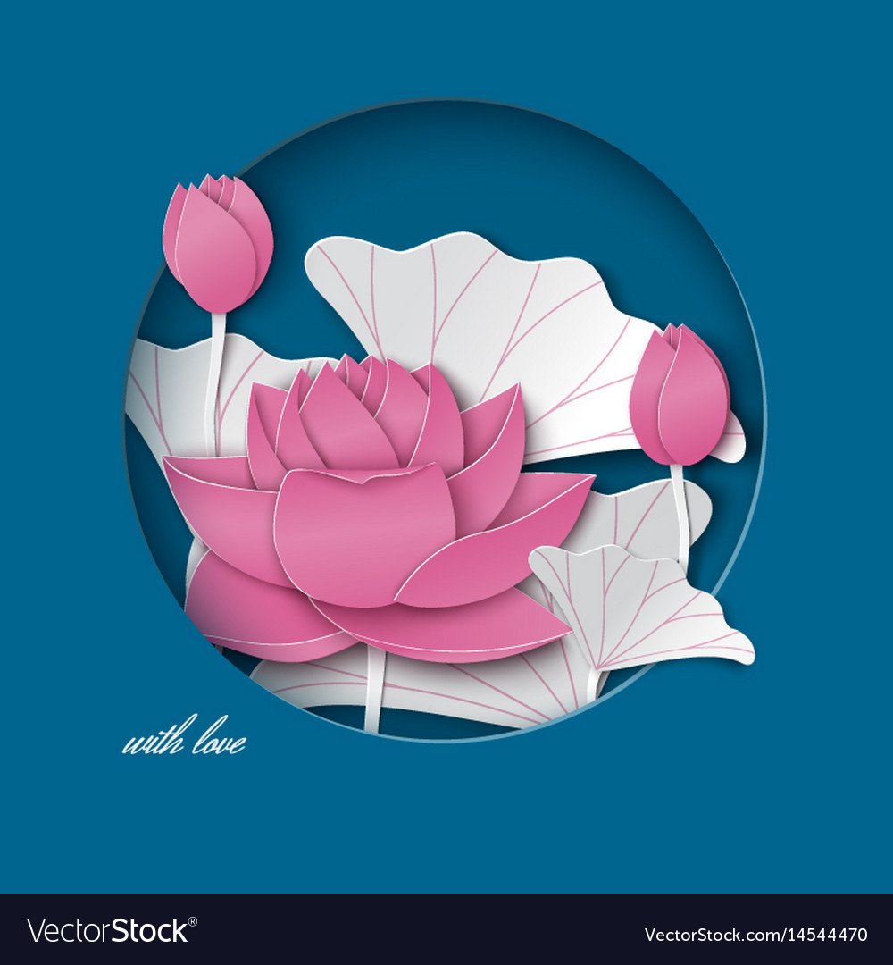 Blue card with cut round frame pink lotus flower vector image