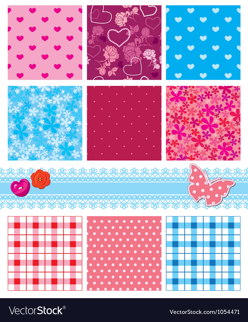 Fabric textures in pink and blue colors - seamless vector image