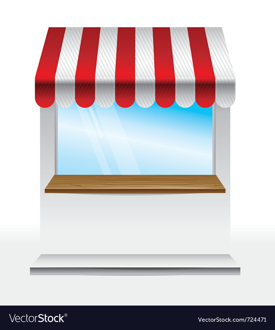 Store with striped awning - vector image