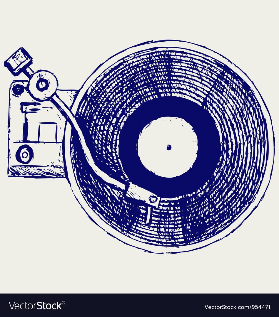Record player vinyl record vector image