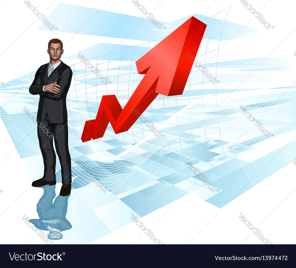 Businessman abstract arrow graph background vector image