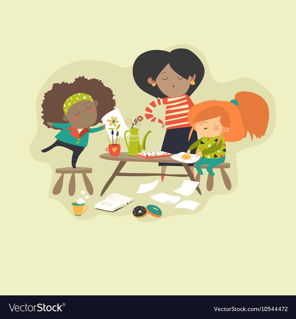 Children with teacher drawing in art class vector image