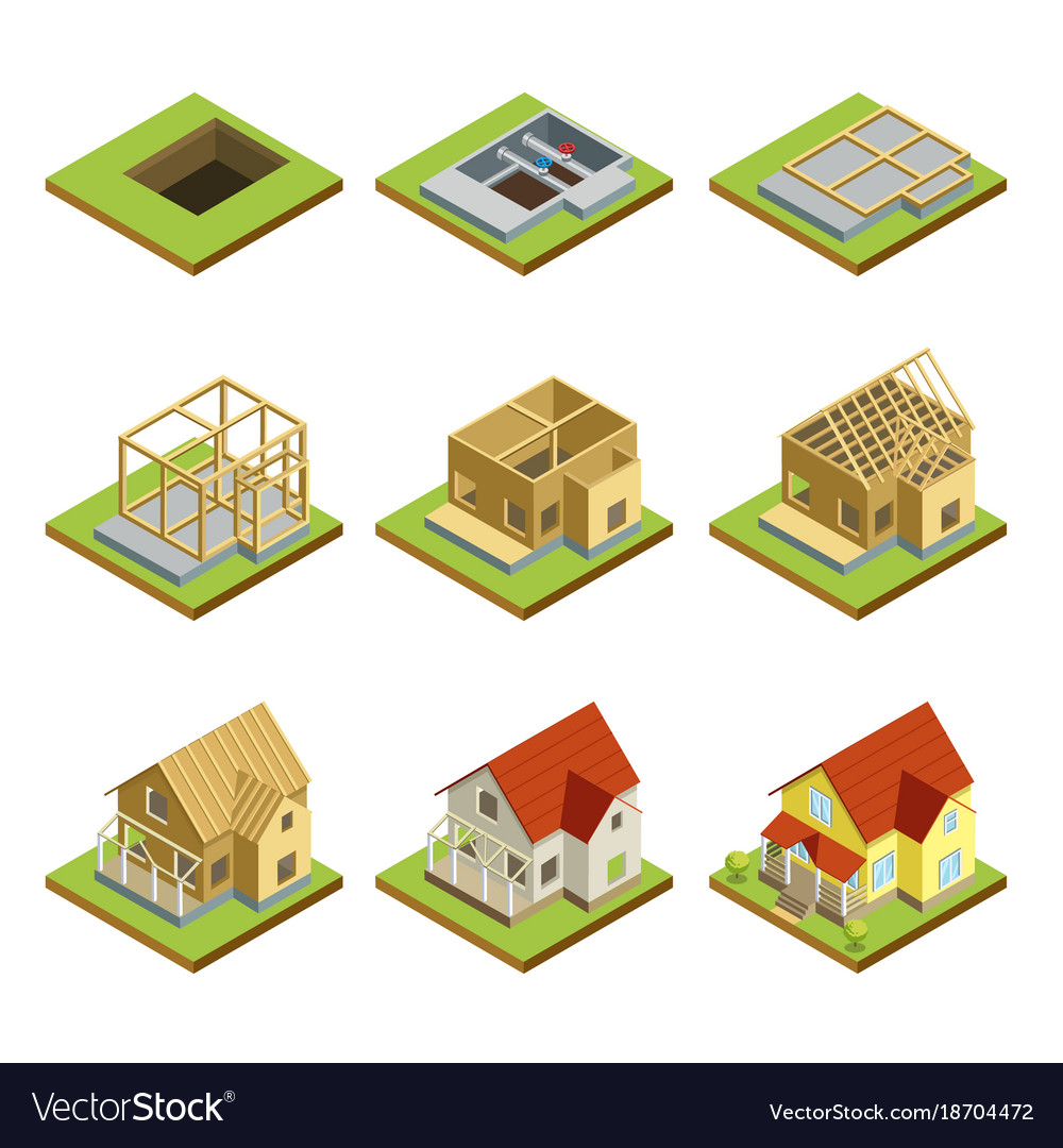 Stages of house construction isometric 3d set vector image for Stages in house construction