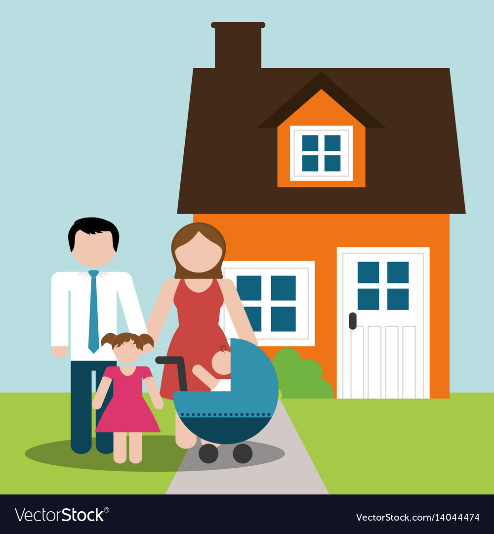 Family home parents and childrens image vector image