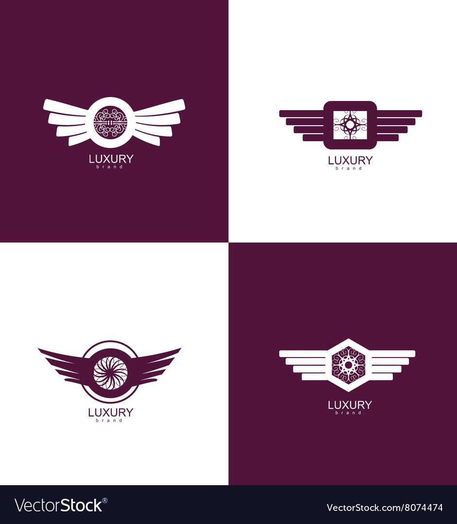 Luxury brand logo icon design set Royalty Free Vector Image