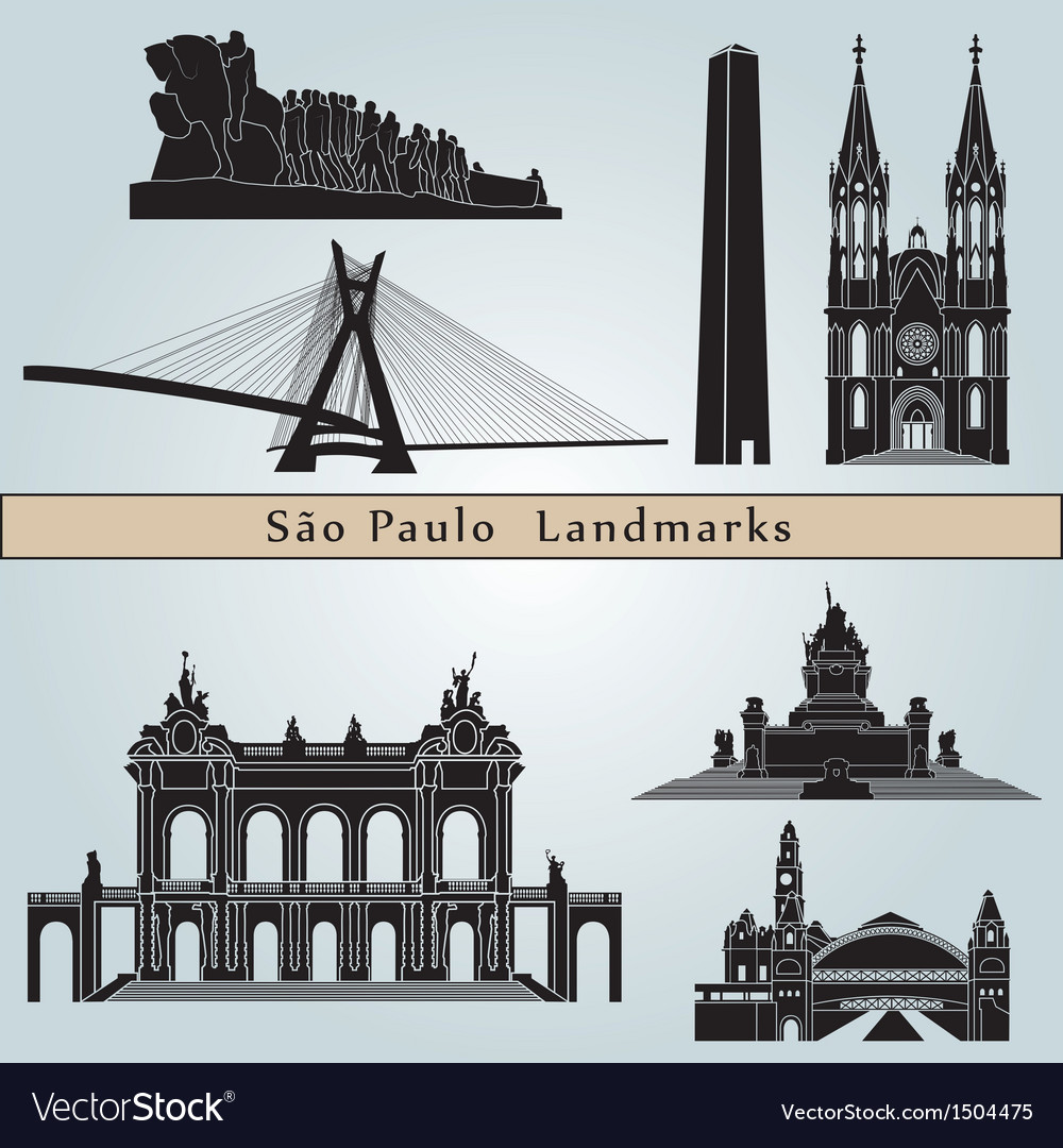Sao Paulo landmarks and monuments vector image