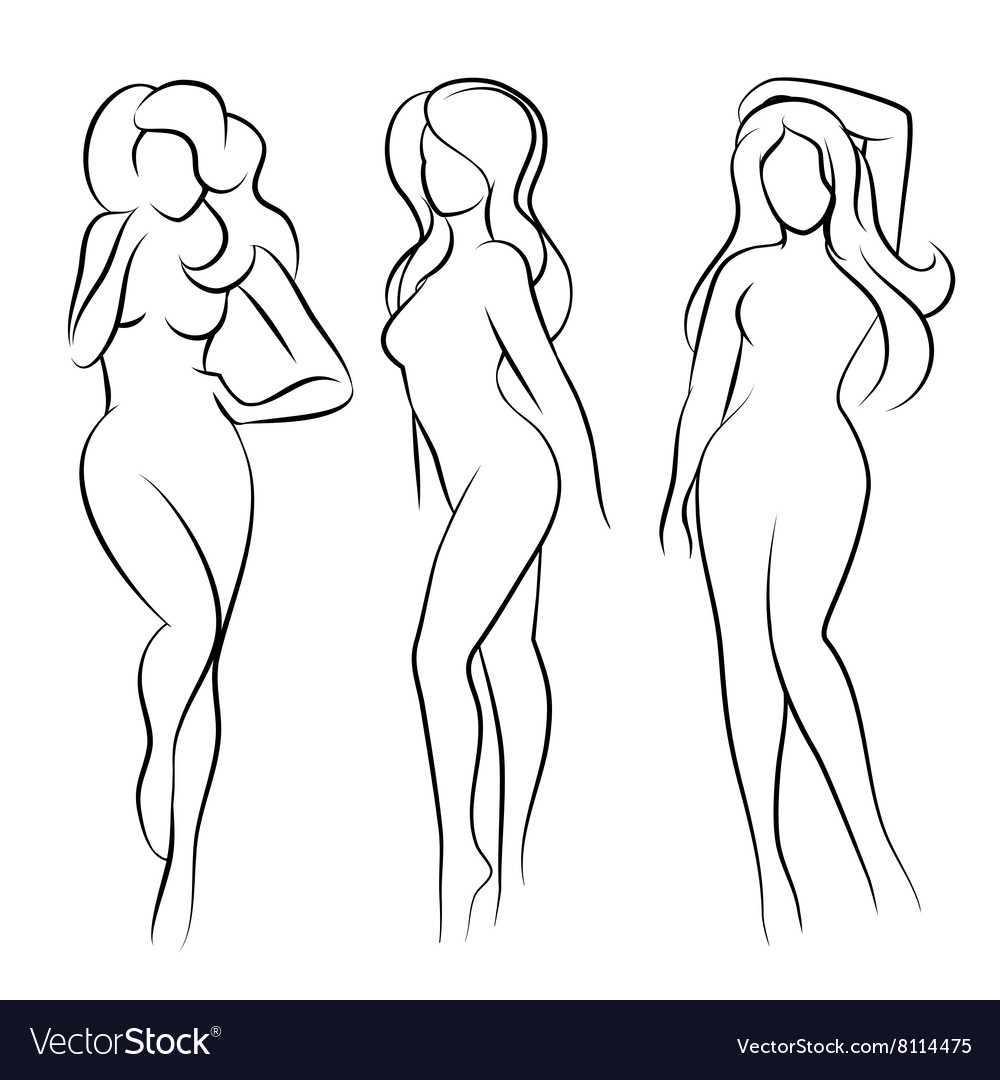 Naked woman silhouette vector image