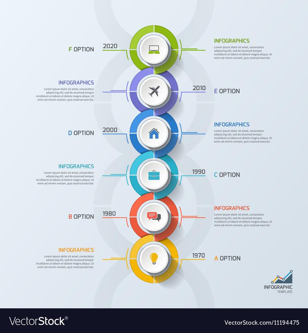 Timeline business vertical infographic template 6 vector image toneelgroepblik Image collections