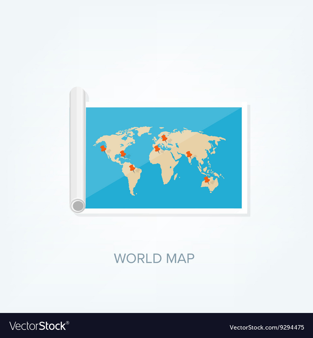 World map in a flat style earth globe royalty free vector world map in a flat style earth globe vector image gumiabroncs Gallery