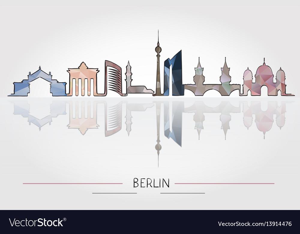 Berlin skyline detailed silhouette vector image