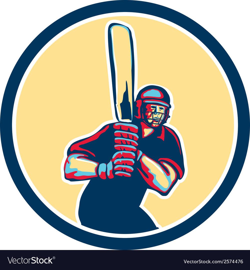 Cricket Player Batsman Circle Retro vector image