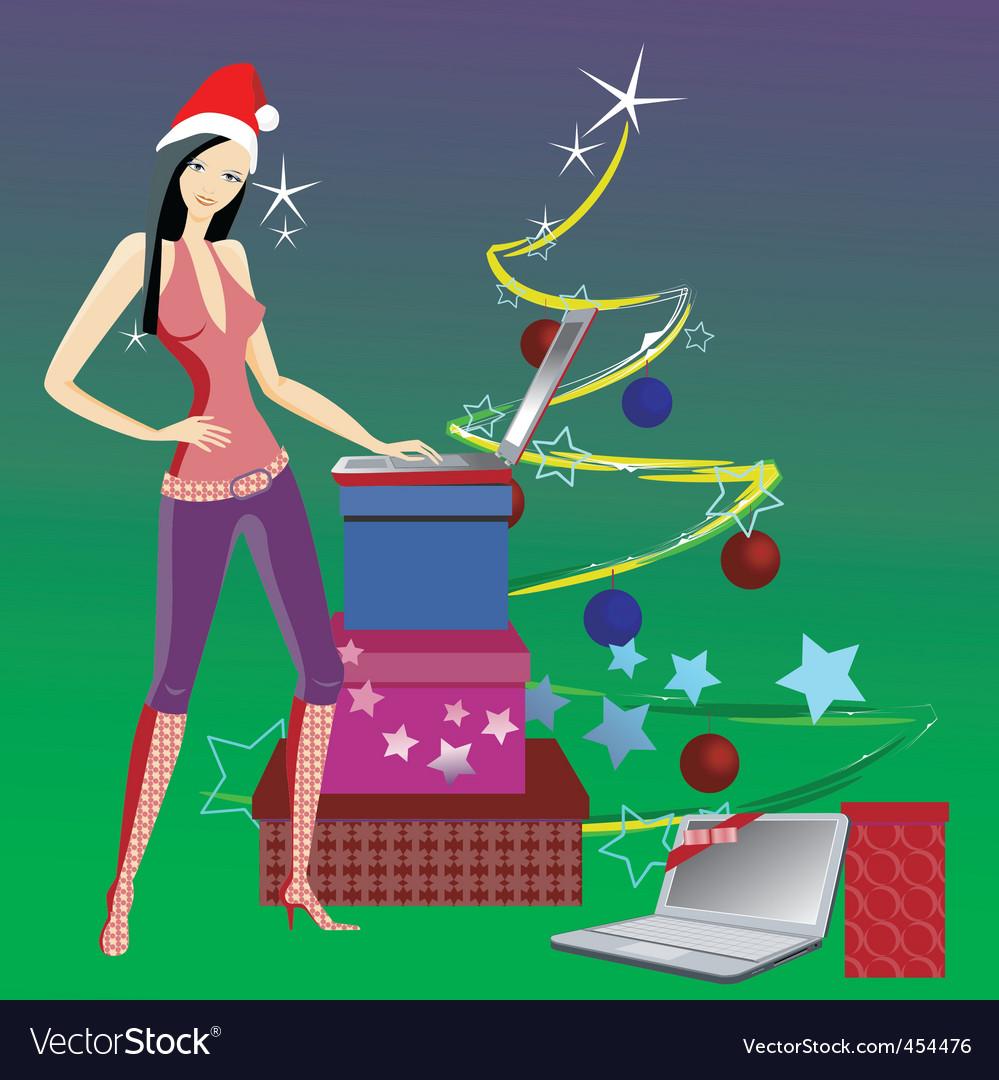 Girl Santa Claus vector image