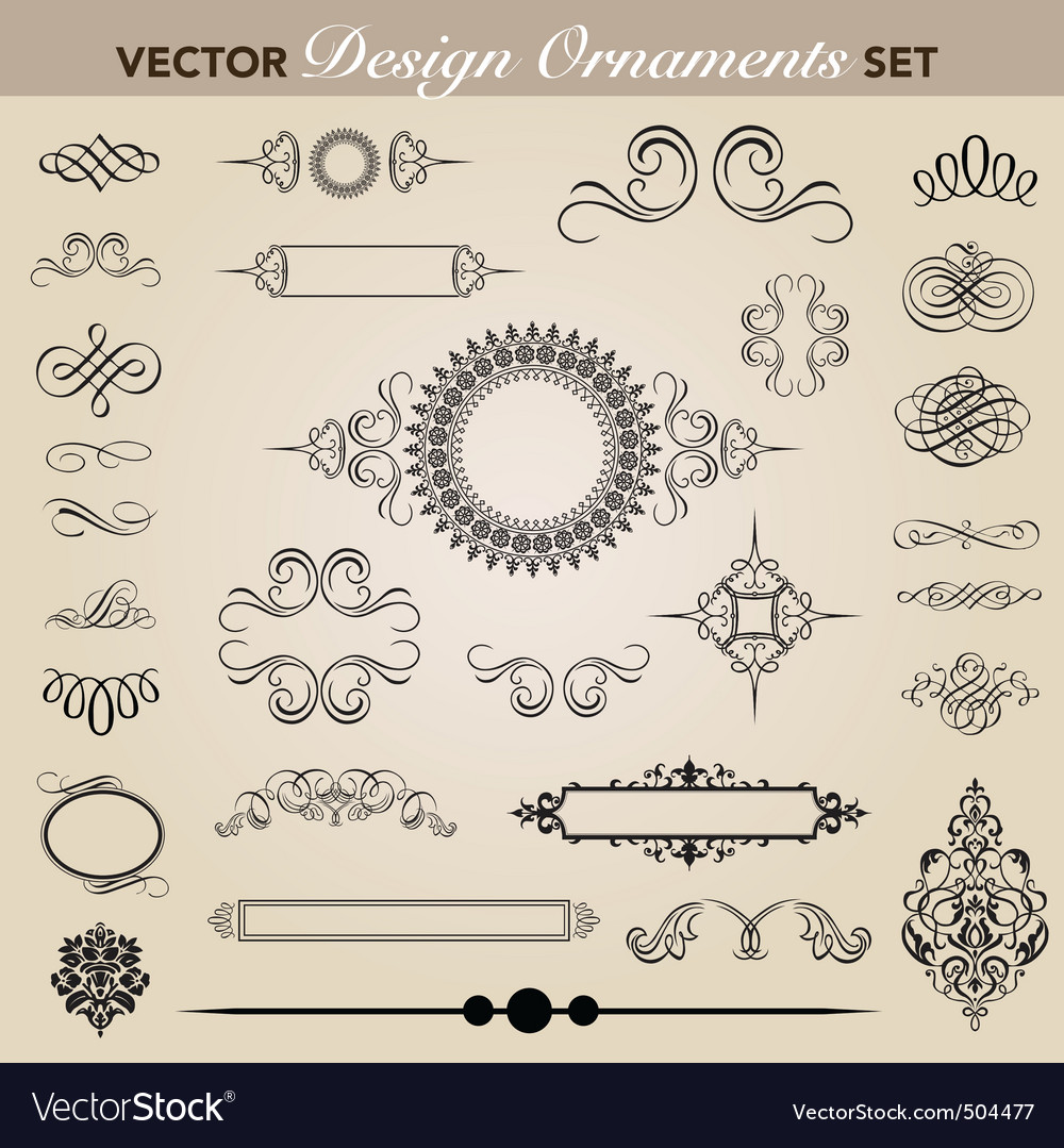 Vector design and swirl ornaments set vector image