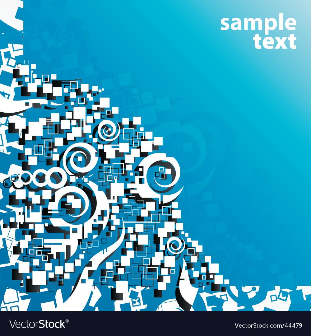Blue abstract art corner design vector image