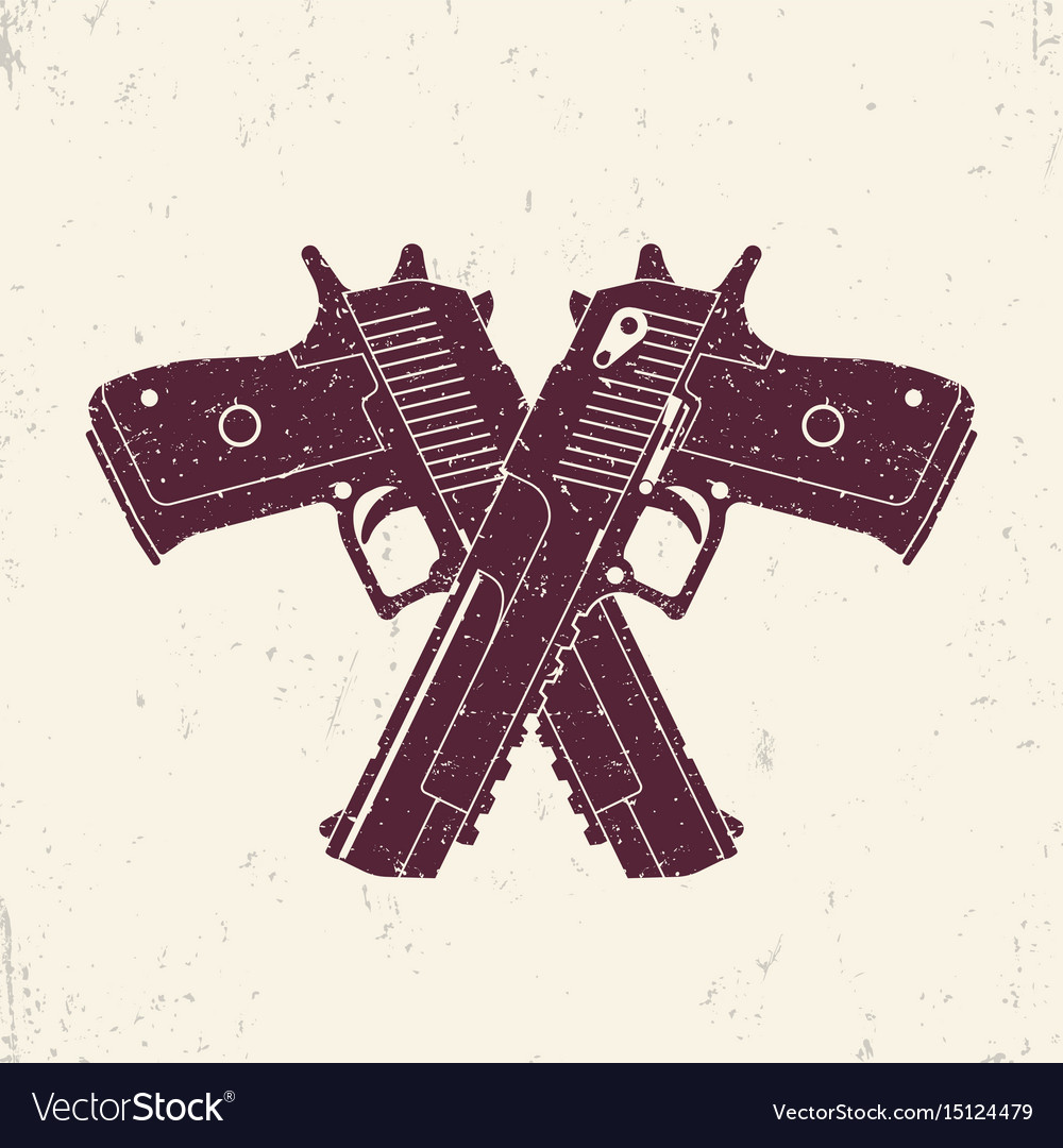 Crossed powerful pistols two handguns vector image