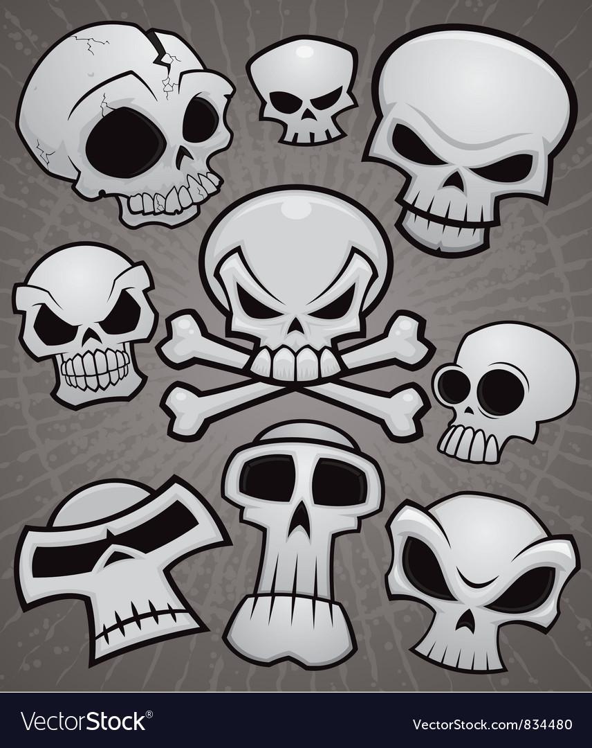 Cartoon Skull Collection vector image
