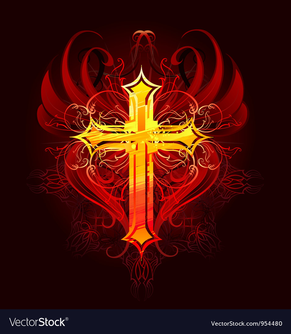 Cross painted with paint vector image