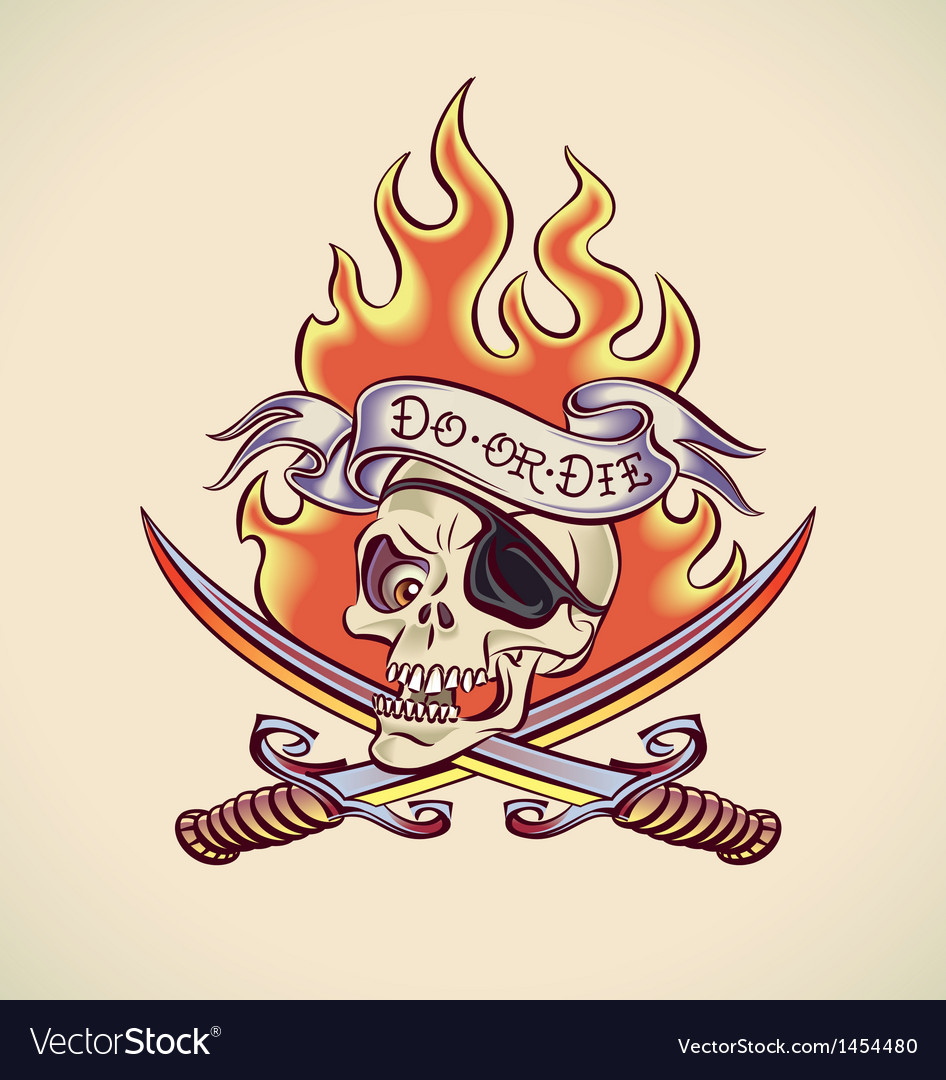 Skull of Pirate - tattoo design vector image