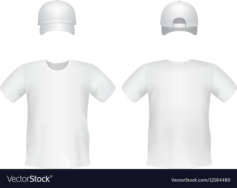 White blank t-shirt template with a cap vector image