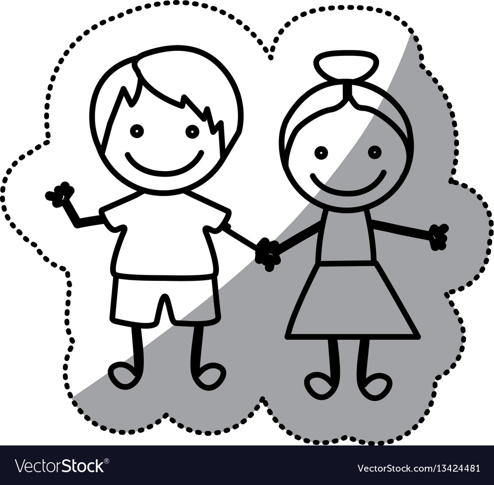 Hand drawn sticker silhouette couple of children Vector Image for Couple Sticker Line  181obs