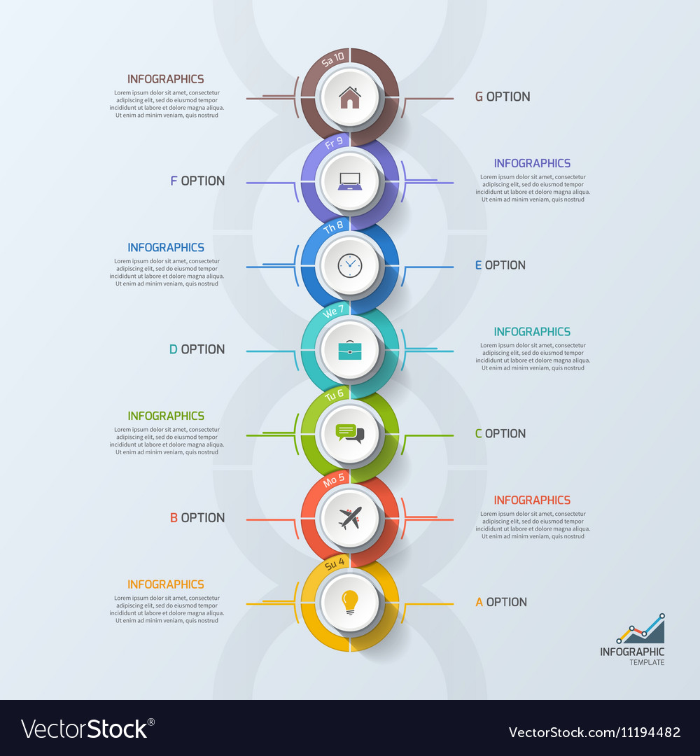 Timeline business vertical infographic template 7 Vector Image