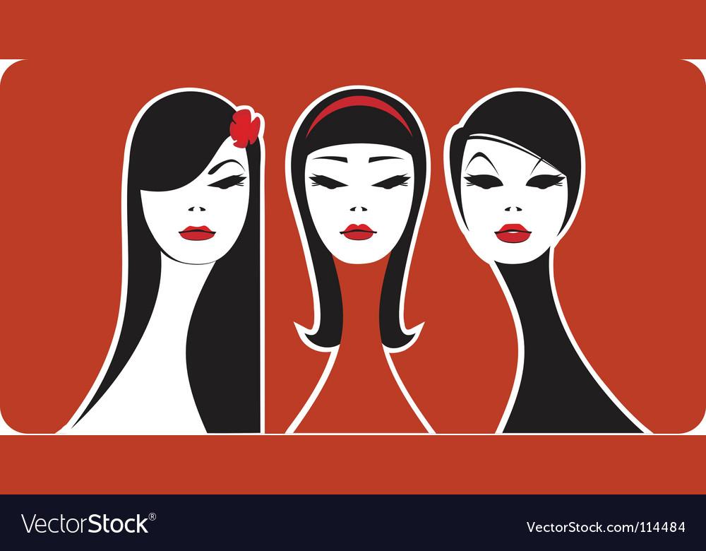 Three beauties vector image