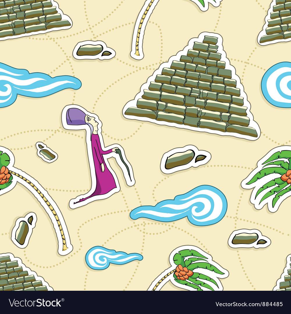 Egypt seamless pattern Pharaoh pyramid palm vector image