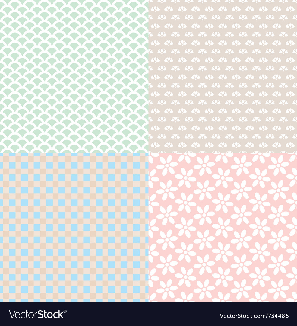 Set of simple cute backgrounds vector image